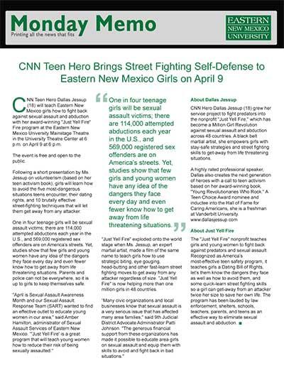 CNN Teen Hero Brings Street Fighting Self-Defense to Eastern New Mexico Girls on April 9