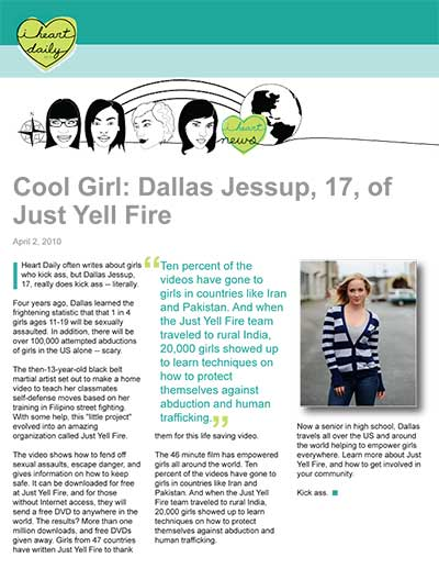 Cool Girl: Dallas Jessup, 17, of Just Yell Fire