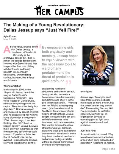 "The Making of a Young Revolutionary: Dallas Jessup says ""Just Yell Fire!"""