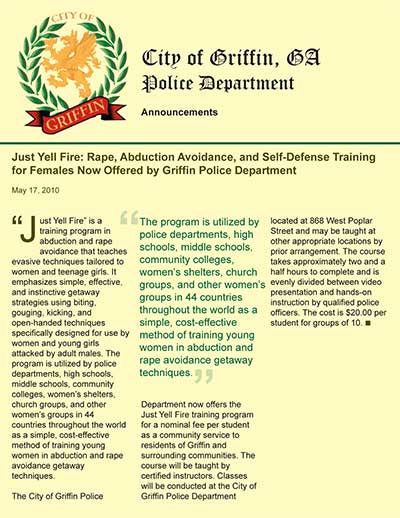 Just Yell Fire: Rape, Abduction Avoidance, and Self-Defense Training for Females Now Offered by Griffin Police Department