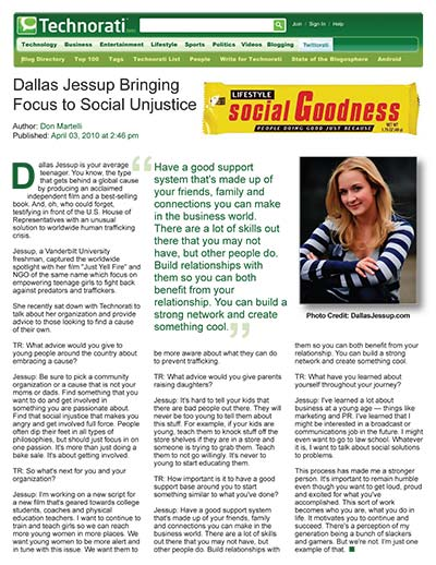 Dallas Jessup Bringing Focus to Social Injustice