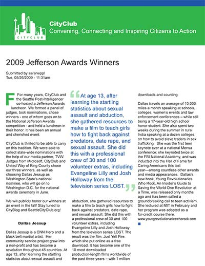 2009 Jefferson Awards Winners