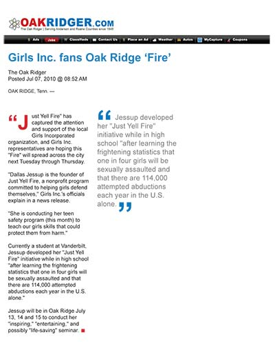 Girls Inc. fans Oak Ridge 'Fire'