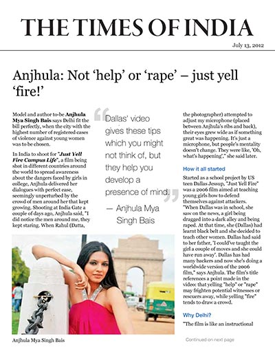 Anjhula: Not 'help' or 'rape' – just yell 'fire!'