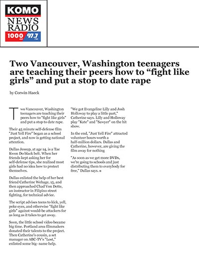 "Two Vancouver, Washington teenagers are teaching their peers how to ""fight like girls"" and put a stop to date rape"