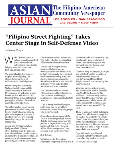 """Filipino Street Fighting"" Takes Center Stage in Self-Defense Video"