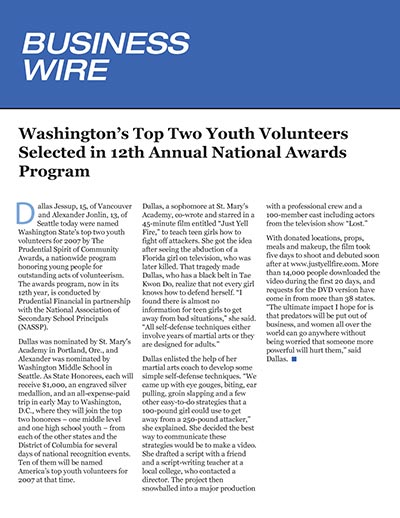 Washington's Top Two Youth Volunteers Selected in 12th Annual National Awards Program