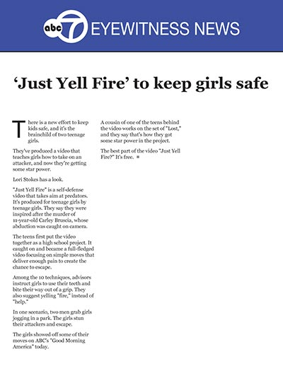 'Just Yell Fire' to keep girls safe