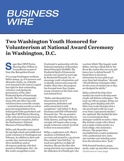 Two Washington Youth Honored for Volunteerism at National Award Ceremony in Washington, D.C.