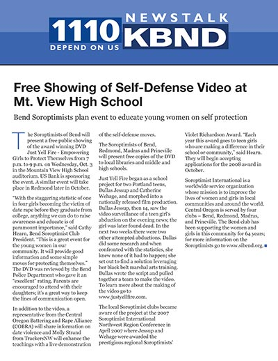 Free Showing of Self-Defense Video at Mt. View High School