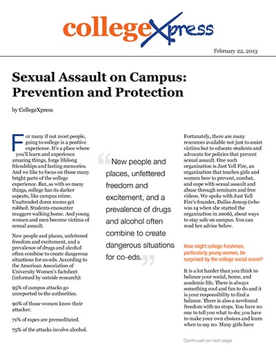 Sexual Assault on Campus: Prevention and Protection