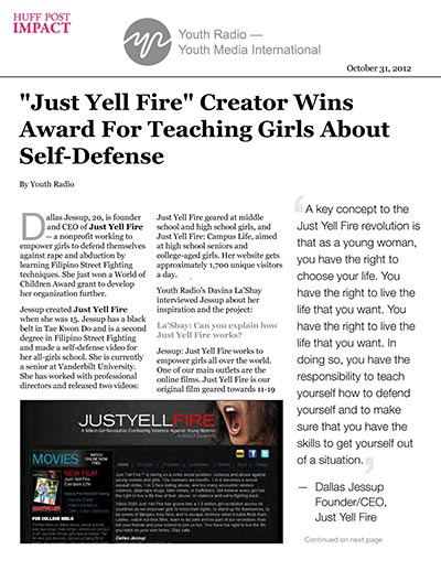 """Just Yell Fire"" Creator Wins Award For Teaching Girls About Self-Defense"