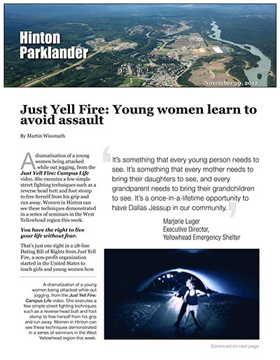 Just Yell Fire: Young Women Learn to Avoid Assault