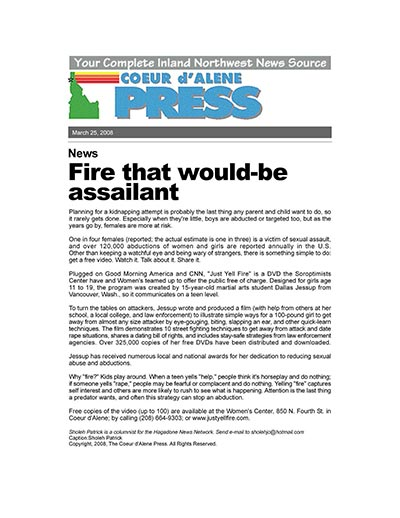 Fire that would-be assailant
