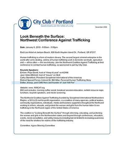 Look Beneath the Surface: NW Conference Against Trafficking
