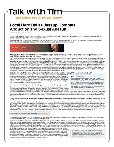 Local Hero Dallas Jessup Combats Abduction and Sexual Assault