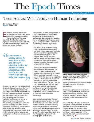 Teen Activist Will Testify on Human Trafficking