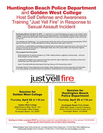 "Self Defense and Awareness training ""Just Yell Fire"" in response to sexual assault incident"