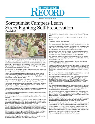 Soroptimist Campers Learn Street Fighting Self-Preservation